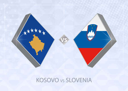 Kosovo vs Slovenia, League C, Group 3. European Football Competition on blue soccer background.