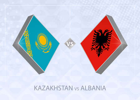 Kazakhstan vs Albania, League C, Group 4. European Football Competition on blue soccer background. 矢量图像