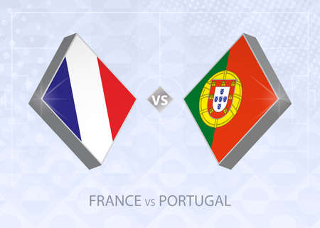 France vs Portugal, League A, Group 3. European Football Competition on blue soccer background.