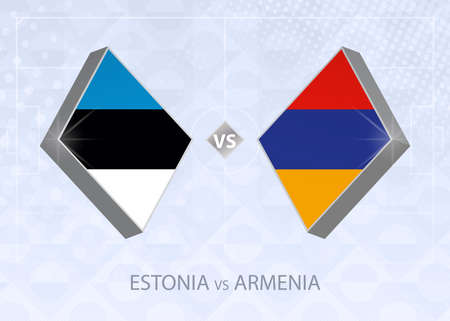 Estonia vs Armenia, League C, Group 2. European Football Competition on blue soccer background.