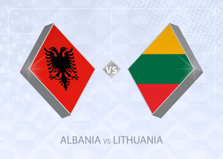Albania vs Lithuania, League C, Group 4. European Football Competition on blue soccer background.
