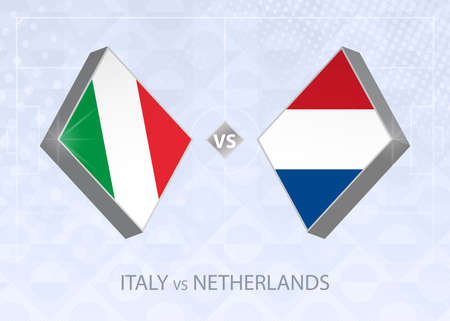Italy vs Netherlands, League A, Group 1. European Football Competition on blue soccer background.