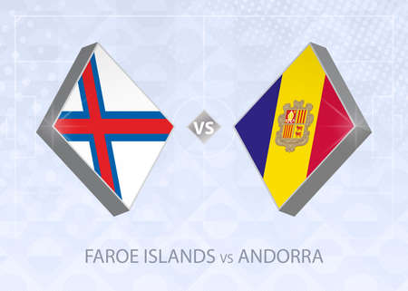 Faroe Islands vs Andorra, League D, Group 1. European Football Competition on blue soccer background.