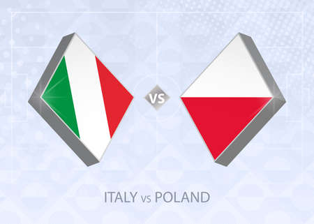 Italy vs Poland, League A, Group 1. European Football Competition on blue soccer background.