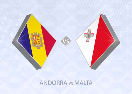 Andorra vs Malta, League D, Group 1. European Football Competition on blue soccer background.