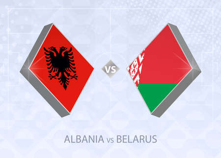 Albania vs Belarus, League C, Group 4. European Football Competition on blue soccer background.