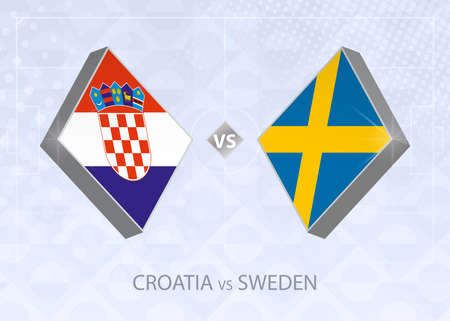 Croatia vs Sweden, League A, Group 3. European Football Competition on blue soccer background.