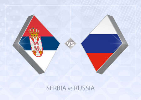 Serbia vs Russia, League B, Group 3. European Football Competition on blue soccer background.