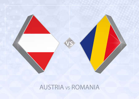 Austria vs Romania, League B, Group 1. European Football Competition on blue soccer background.