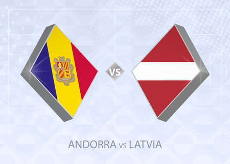 Andorra vs Latvia, League D, Group 1. European Football Competition on blue soccer background.