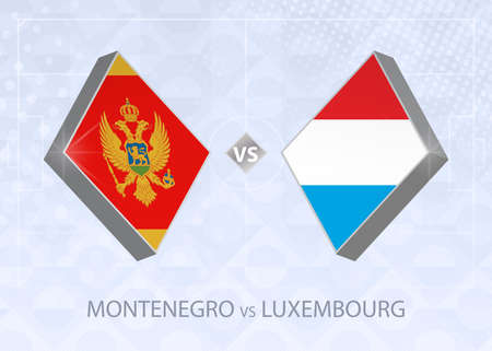 Montenegro vs Luxembourg, League C, Group 1. European Football Competition on blue soccer background.