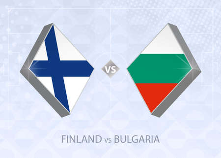 Finland vs Bulgaria, League B, Group 4. European Football Competition on blue soccer background.