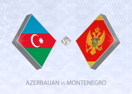 Azerbaijan vs Montenegro, League C, Group 1. European Football Competition on blue soccer background.