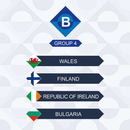 European Football Competition, Participants of League B and Group 4: Wales, Finland, Ireland, Bulgaria.
