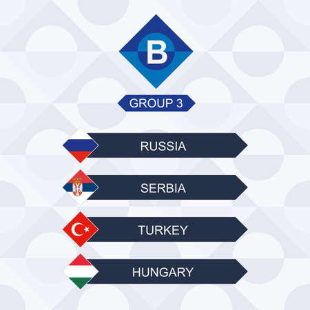 European Football Competition, Participants of League B and Group 3: Russia, Serbia, Turkey, Hungary. 向量圖像