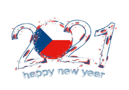 Happy New 2021 Year with flag of Czech Republic. Holiday grunge vector illustration. Ilustração