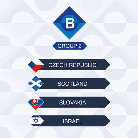 European Football Competition, Participants of League B and Group 2: Czech Republic, Scotland, Slovakia, Israel.