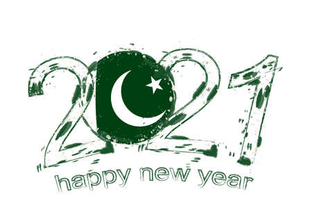 Happy New 2021 Year with flag of Pakistan. Holiday grunge vector illustration. Ilustração