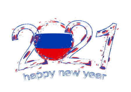 Happy New 2021 Year with flag of Russia. Holiday grunge vector illustration.