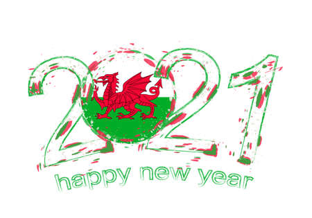 Happy New 2021 Year with flag of Wales. Holiday grunge vector illustration.