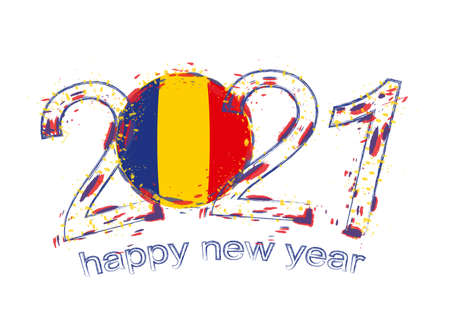 Happy New 2021 Year with flag of Romania. Holiday grunge vector illustration. Illusztráció