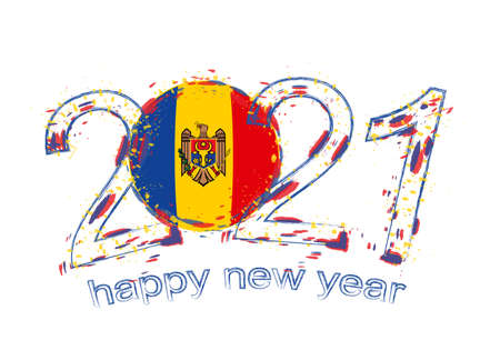 Happy New 2021 Year with flag of Moldova. Holiday grunge vector illustration.