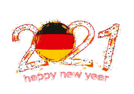 Happy New 2021 Year with flag of Germany. Holiday grunge vector illustration.