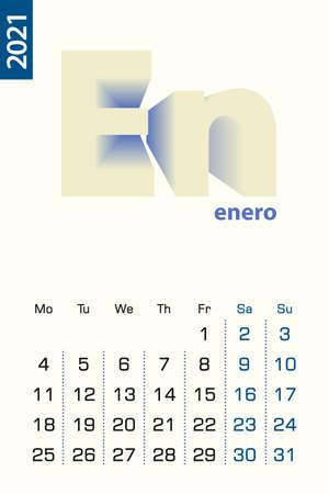 Minimalist calendar template for January 2021, vector calendar in Spanish language Vector calendar for 2021.