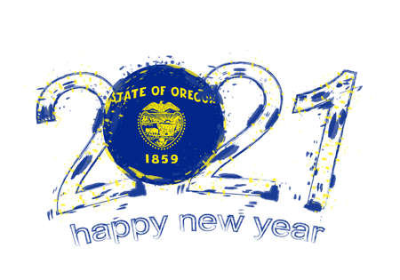 Happy New 2021 Year with flag of Oregon. Holiday grunge vector illustration.