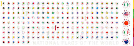 Flags in Virus Cell Shape Collection. National Flags of the World. Vector Flag Set. Çizim