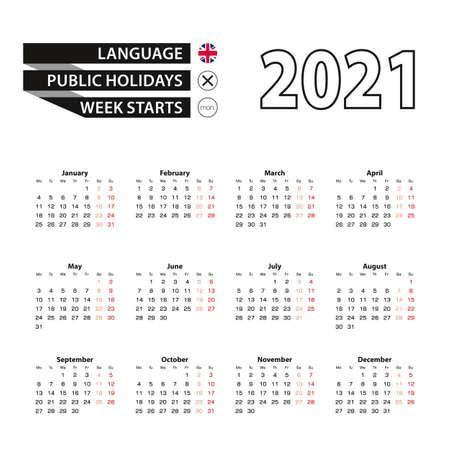 Calendar 2021 in English language, week starts on Monday. Vector calendar 2021 year.
