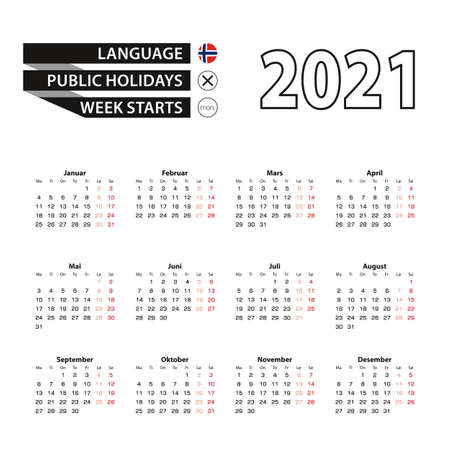 Calendar 2021 in Norwegian language, week starts on Monday. Vector calendar 2021 year.