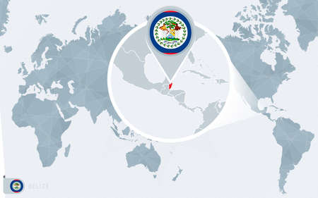 Pacific Centered World map with magnified Belize. Flag and map of Belize on Asia in Center World Map.