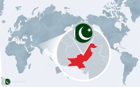 Pacific Centered World map with magnified Pakistan. Flag and map of Pakistan on Asia in Center World Map. Ilustração