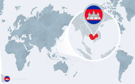 Pacific Centered World map with magnified Cambodia. Flag and map of Cambodia on Asia in Center World Map.