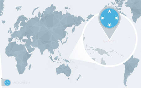 Pacific Centered World map with magnified Micronesia. Flag and map of Micronesia on Asia in Center World Map.