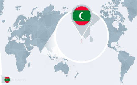 Pacific Centered World map with magnified Maldives. Flag and map of Maldives on Asia in Center World Map.