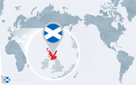 Pacific Centered World map with magnified Scotland. Flag and map of Scotland on Asia in Center World Map. Vektorové ilustrace