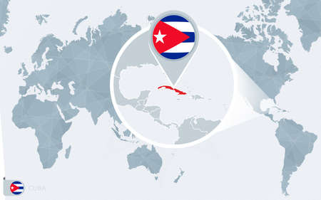 Pacific Centered World map with magnified Cuba. Flag and map of Cuba on Asia in Center World Map. Иллюстрация