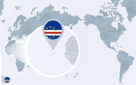 Pacific Centered World map with magnified Cape Verde. Flag and map of Cape Verde on Asia in Center World Map.