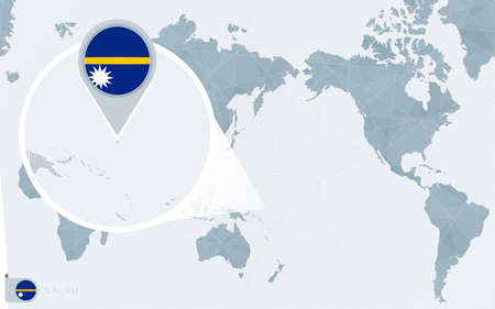 Pacific Centered World map with magnified Nauru. Flag and map of Nauru on Asia in Center World Map.