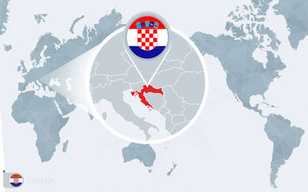 Pacific Centered World map with magnified Croatia. Flag and map of Croatia on Asia in Center World Map. 矢量图像
