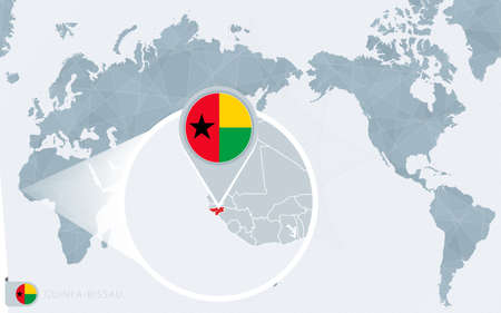 Pacific Centered World map with magnified Guinea-Bissau. Flag and map of Guinea-Bissau on Asia in Center World Map. Vetores