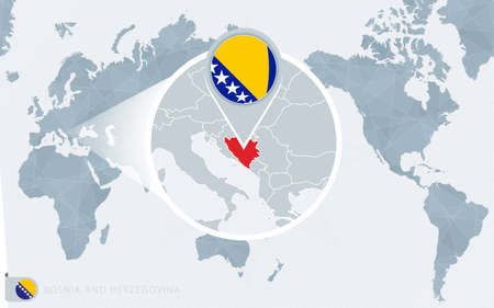Pacific Centered World map with magnified Bosnia and Herzegovina. Flag and map of Bosnia and Herzegovina on Asia in Center World Map.