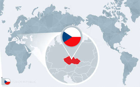 Pacific Centered World map with magnified Czech Republic. Flag and map of Czech Republic on Asia in Center World Map. 向量圖像