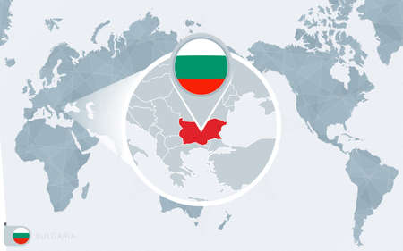 Pacific Centered World map with magnified Bulgaria. Flag and map of Bulgaria on Asia in Center World Map.