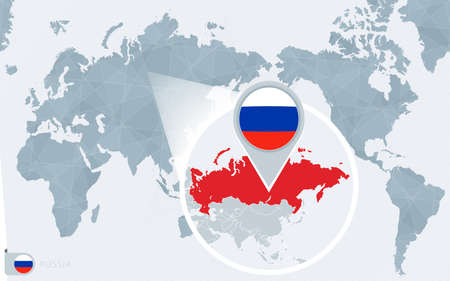 Pacific Centered World map with magnified Russia. Flag and map of Russia on Asia in Center World Map.