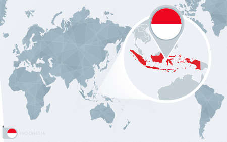 Pacific Centered World map with magnified Indonesia. Flag and map of Indonesia on Asia in Center World Map.