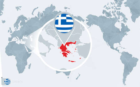 Pacific Centered World map with magnified Greece. Flag and map of Greece on Asia in Center World Map.