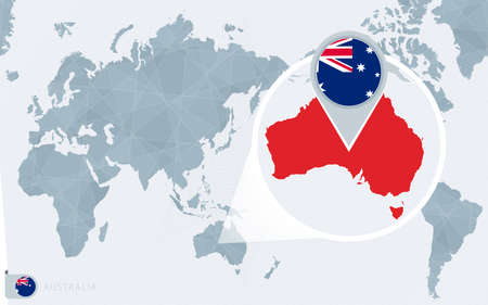 Pacific Centered World map with magnified Australia. Flag and map of Australia on Asia in Center World Map.